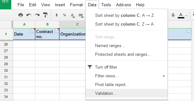 Data validation Google Sheets 0