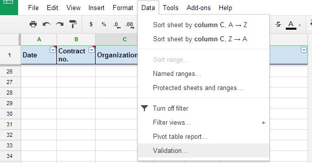 Data validation Google Sheets 0