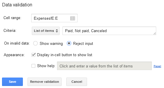 Data validation Google Sheets 10