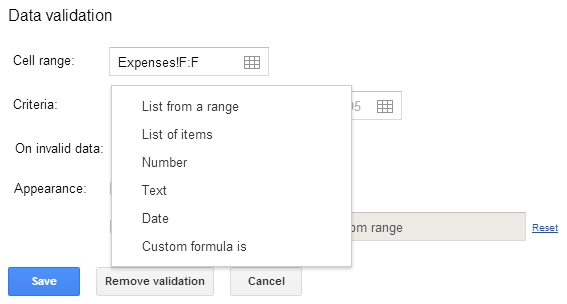 Data validation Google Sheets 12