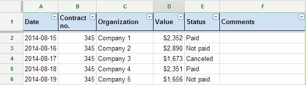 Data validation Google Sheets 2