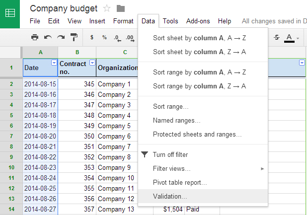 Data validation Google Sheets 3
