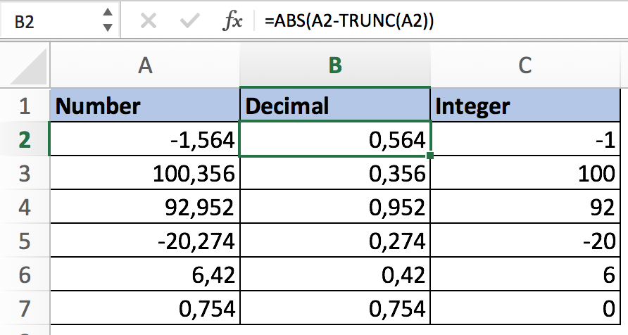 Get decimal value Excel